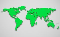 3D world map. Green 3d world map with mirror Stock Photos