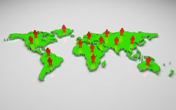 3D world map. Green 3d world map with people Stock Photography