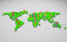 3D world map. Green 3d world map with  people on wire background Royalty Free Stock Photos