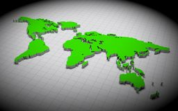 3D world map. Green 3d world map on wire background Stock Images