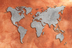 3D World map. Grunge copper tinned 3D World map royalty free illustration