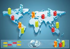 3d world map illustration with modern elements of info gr. 3d vector world map illustration with modern elements of info graphics Stock Photography