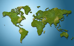 3D world map. Modelled using 3D max royalty free illustration