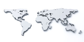 3d world map over white background. With reflection Stock Photos
