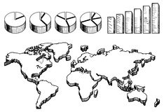 3D world map with pie and column charts Stock Image