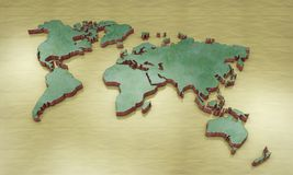 3D world map. 3d rendering vector illustration