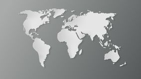 3D World Map With Shadow. EPS10 Vector Royalty Free Stock Photo