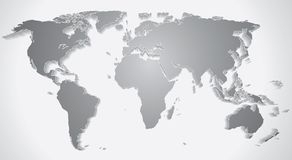3D World Map Silhouette. Vector Graphics Stock Photos