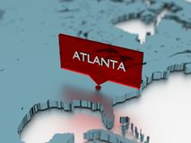 3d world map sticker - City of Atlanta Royalty Free Stock Photos