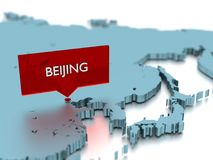 3d world map sticker - City of Beijing Stock Images