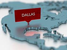 3d world map sticker - City of Dallas Stock Photo