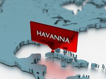 3d world map sticker - City of Havanna Royalty Free Stock Photo