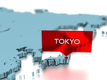 3d world map sticker - City of Tokyo Stock Photo