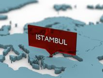 3d world map sticker - Istambul Stock Photo