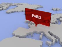 3d world map sticker - Paris Royalty Free Stock Photo