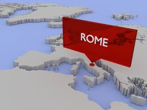 3d world map sticker - Rome Royalty Free Stock Photography