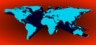 3D world map in vector. Blue 3d world map in vector on a red background Stock Image