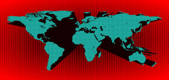 3D world map in vector. Blue 3d world map in vector on a red background Stock Photos