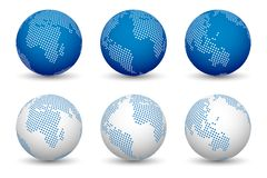 3d world maps. World globe vectors isolated on white background. 3 versions for blue and 3 versions for white Royalty Free Stock Photo
