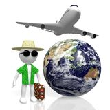 3D world travel concept. 3D Earth, passenger plane, tourist with suitcase - great for topics like traveling, holiday, summer holiday etc Royalty Free Stock Image