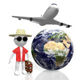 3D world travel concept. 3D Earth, passenger plane, tourist with suitcase - great for topics like traveling, holiday, summer holiday etc Royalty Free Stock Photos