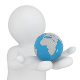 3d world in white figure hand. Global concept. Stock Image