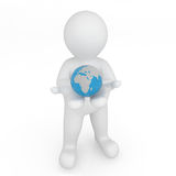 3d world in white figure hand. Global concept. Stock Photo