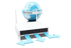 3d World with wifi router. 3d illustration. World with wifi router. Global networking concept. Isolated white background Stock Images