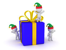 3D Wrapped Gift Box and several small 3D Characters with Elf Hat Stock Photo