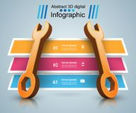 3d wrench - business infographic. Stock Images