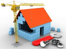 3d wrench. 3d illustration of block house over white background with wrench and crane Stock Image