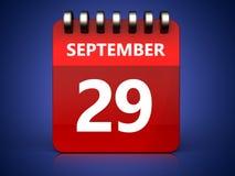 3d 29 Wrzesień kalendarz Fotografia Stock
