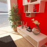 3D współczesny Żywy Izbowy wnętrze i nowożytny meble obraz stock
