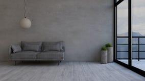 3D współczesny Żywy Izbowy wnętrze i nowożytny meble ilustracji