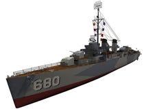 3d WW2时代驱逐舰的翻译 免版税库存照片
