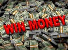 3d wygrany pieniądze na dolarowym paczki tle Obraz Royalty Free