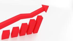 3d wykresu seansu CZERWONY wzrost w zyskach lub przychodach ilustracja wektor