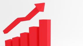 3d wykresu seansu CZERWONY wzrost w zyskach lub przychodach ilustracji
