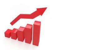 3d wykresu seansu CZERWONY wzrost w zyskach lub przychodach royalty ilustracja