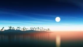 3D wyspa z drzewkami palmowymi przy zmierzchem ilustracji