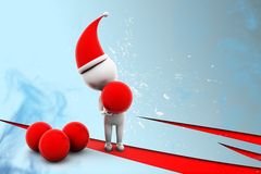 3d X Mas and Red Balls illustration Royalty Free Stock Photo