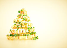3d xmas gift christmas tree spiral shape concept. Royalty Free Stock Images
