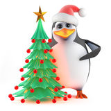 3d Xmas penguin Christmas tree Stock Photography