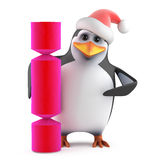 3d Xmas penguin cracker surprise Stock Photography