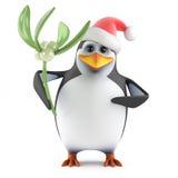 3d Xmas penguin mistletoe Stock Photos