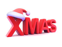 3d Xmas with Santa Claus hat Stock Photos