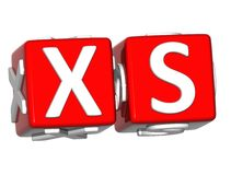 3D XS Button Click Here Block Text Royalty Free Stock Photography