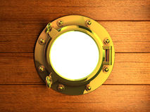 3d Yacht porthole. 3d render of a brass porhole in wooden yacht bulkhead Royalty Free Stock Photography