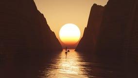 3D yacht sailing towards a sunset sky Royalty Free Stock Image