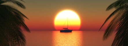 3D yacht on a sunset ocean Royalty Free Stock Images